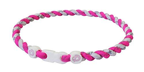 Phiten Tornado Titanium Necklace, Pink/White, 18