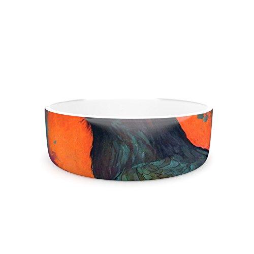 7\ Kess InHouse Lydia Martin Raven Sun Alternate  orange Purple Pet Bowl, 7