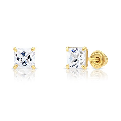 - 14k Yellow Gold Cubic Zirconia Princess Cut Stud Earrings with Screw Backs (4MM)