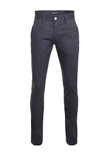 Perruzo Men's Skinny Fit Stretch Casual Chino Pants (32W x 32L, Charcoal)