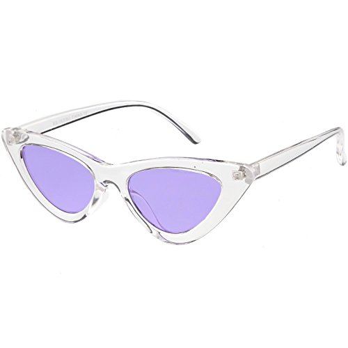sunglassLA - Womens Exaggerated Translucent Cat Eye Sunglasses Color Tinted Lens 48mm (Clear / - Tinted Purple Glasses