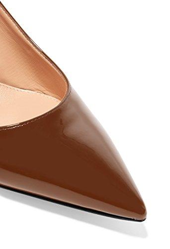 Taille Marron Grande 5cm Sexy Sandales Aiguille De Chaussures Talon Pointus 6 Femme Haut Escarpins Elashe slingback FOX61WZw