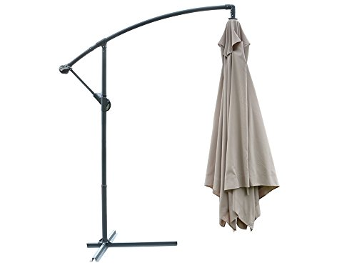 TMS Offset Umbrella With Removable Mosquito Bug Mesh Net 9FT X 9FT Patio Offset Tilt Post Deck Gazebo Outdoor Shade,Tan