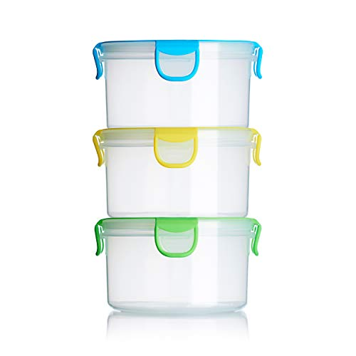 Snap Fresh - 3 Pack of Salad Containers - 1 Liter (33.8 fl oz) - BPA-Free, Locking Lids and Airtight Silicone Seal