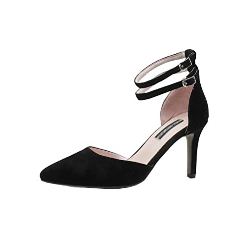 Vaneel Heel Cone UK Shoes 4 Court Women 6 Black denneu Buckle 8CM Hn6rHXq