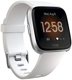 Fitbit Versa Lite Edition Smartwatch with S/L bands - White/Silver (Renewed)