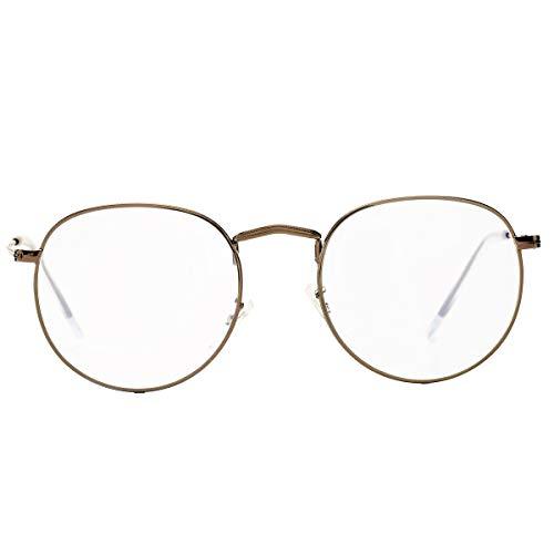 BOURYO Round Clear Lens Glasses Metal Frame Circle Eyeglasses Non-prescription Eyewear ()