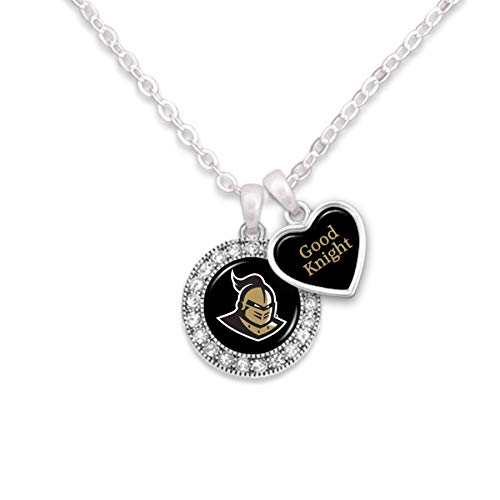 Central Florida Knights Logo and a Heart Shaped Charm Necklace Featuring Team Slogan