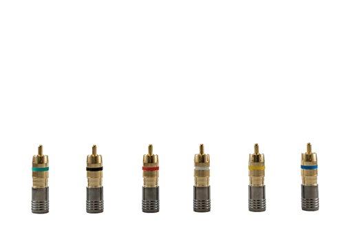 Legrand - On-Q AC300410 Compression Rg6U/Quad Shield RCA Plug, Gold Connector, 10 Pack
