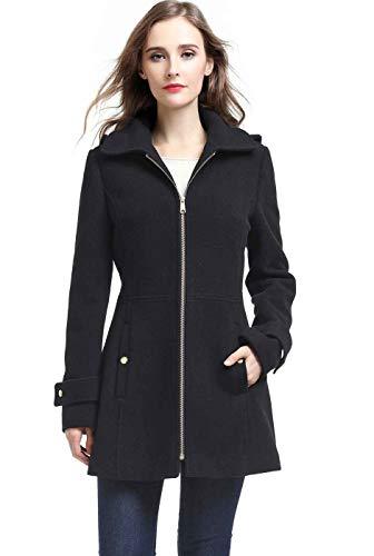 BGSD Womens Lina Wool Blend Hooded Parka Coat,Black,Medium