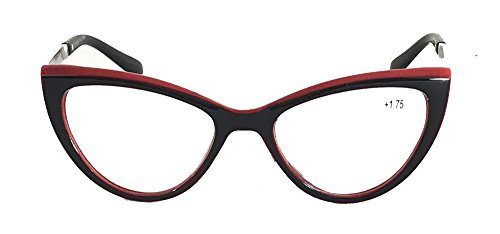 Retro Cat-Eye Reading Glasses R9086 (Black/Red, - Retro Frames Cat Eye