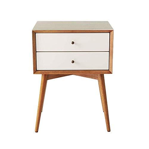 HYLH Side Tables,Tables MDF Retro 2 Drawer Bedside Table Side Storage Unit (Color : Teak Color+White, Size : 46 38 -