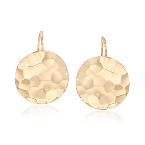 Ross-Simons 14kt Yellow Gold Hammered Disc Drop Earrings - Hanging Disc Earrings