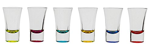 Palais Glassware Verre à Liqueur Elegent Heavy Base Shot Glass Set, 1.5 Ounce - Set of 6 (Bottom Sprayed Lime/Fuschia/Aqua/Yellow/Blue/Red)