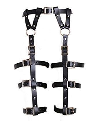 FOURPLUSONE Women's Gothic Leg Harness Bondage PU Leather Leg Wrap Wear Roleplay, Black