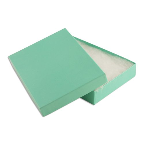 100 pcs Teal Blue Cotton Filled Jewelry Gift Boxes 5x3