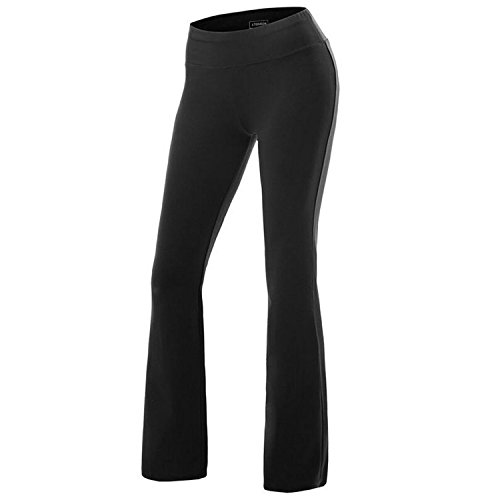 Women's Solid Cotton Spandex Boot Cut High Waisted Flare Yoga Pants Workout Casual Trousers Comfortable Flared Leggings Black XL
