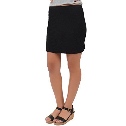 Stretch is Comfort Women's Cotton Mini Skirt Black Large