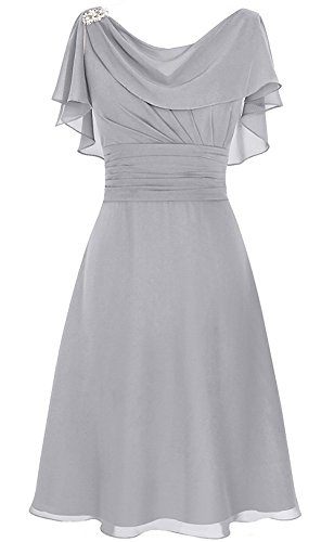 b8db334863 Home Popular Dresses MenaliaDress Women s Chiffon Short Gown Neck Mother  Bride Dress Prom Gown M086LF Silver US22W.   
