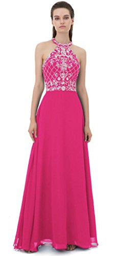Women Gowns for Party Chiffon Halter Jewel Teen Girls Prom Dress Fuchsia US4 (Slim Prom Gown)
