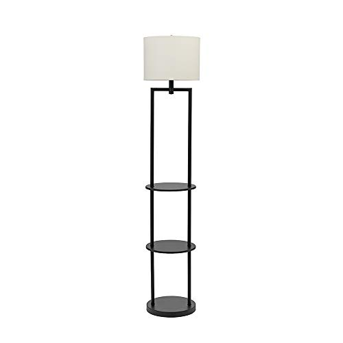Lamp Floor Metal Round (Catalina Lighting 21442-000 Modern Round Etagere Floor Lamp with Shelves and Linen Shade, 60