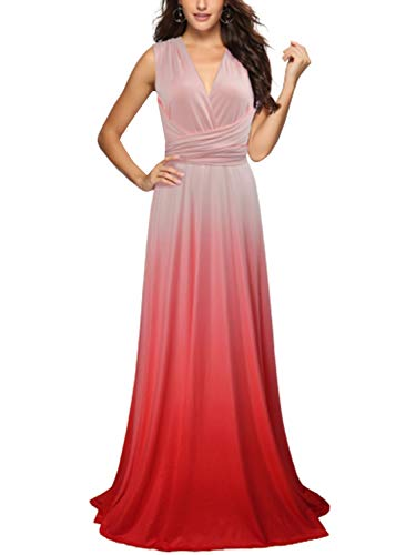 PERSUN Women's Convertible Multi Way Wrap Maxi Dress Long Semi Formal Party Long Dresses (X-Large, Gradient Pink)