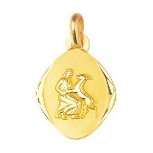 So Chic Bijoux © Pendentif Zodiaque Losange Arrondi Bords Diamantés Signe Astrologique Vierge Or Jaune 750/000 (18 carats)