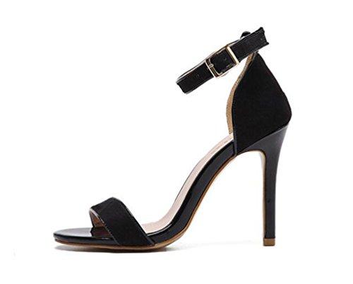 10 cm Suede hebilla tobillo correas sandalias partido tacón de aguja elegantes verano señoras abierto toe sandalias UE tamaño 35-40 Black