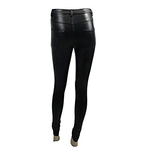 Leggings Colour Góticos Hacia Casual Hueco Las Fit Cuero Fuera Ocio Con Color Mujeres Bolsillo Pantalones Slim Modernas De Stretch Sólido qfgPfHSpw