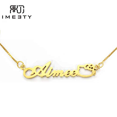 Gimax Personalized Kids Necklace Silver Girl nameplate Necklace Handmade Custom Hellokitty Baby Name Necklaces Gift - (Metal Color: Platinum Plated)
