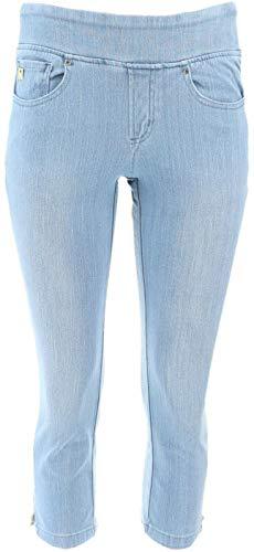 Belle Kim Gravel Flexibelle Cropped Jeans Petite Light Wash P2 New A301516 from Belle by Kim Gravel