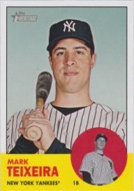2012 Topps Heritage Football - Mark Teixeira 2012 Topps Heritage (1963 Topps) (New York Yankees)