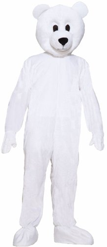 Forum Deluxe Plush Polar Bear Mascot Costume, White, One Size - Mascot Costumes