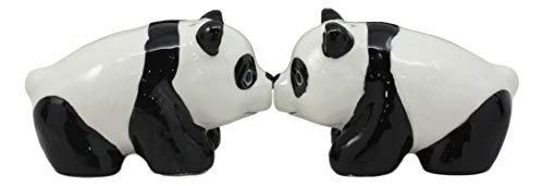 Collectible Teddy Ceramic (Ebros Ceramic Kissing Giant Panda Bears Salt And Pepper Shakers Holder Figurine Set As Kitchen Decorative Spice Holders of Pandas or Panda Bear For Endangered Species Dining Table Decor)