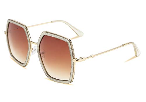 FEISEDY Geometric Women Sunglasses Fashion Ladies Irregular Large Hexagon Inspired Designer Style ()