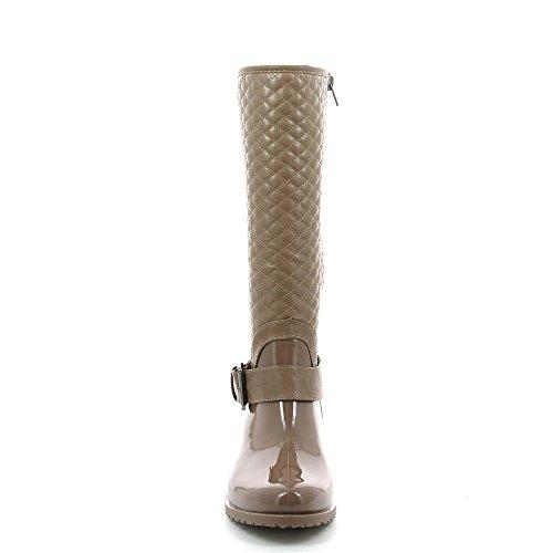 Ideal Shoes - Bottes de pluie avec partie matelassée et boucle de ceinturons Owen Taupe 39