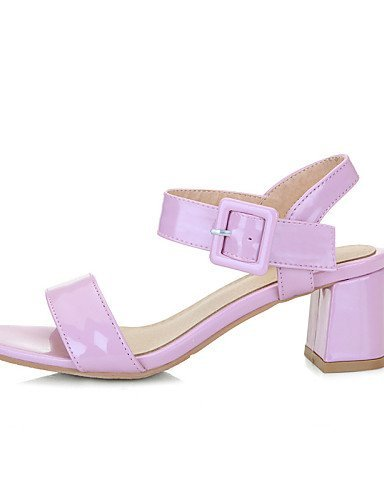 ShangYi Patent Black Career Toe Shoes Chunky amp; Office Sandals Dress Pink Heel Leather Casual Open Women's Pink fqfrF