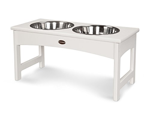 - Polywood DF12WH White Double Pet Diner