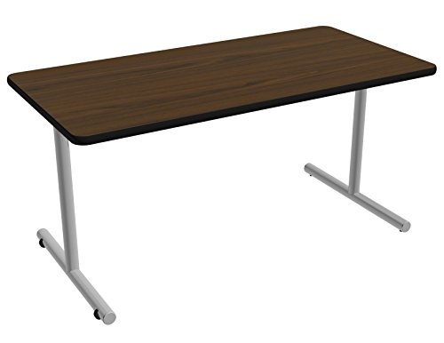 Nomad by Palmer Hamilton ATTGO293060-MWMSEG Fixed Leg Standard Weight Aero GO T-Base Table with Built in Casters, Metallic Silver Frame, Black Edge Guard, 60