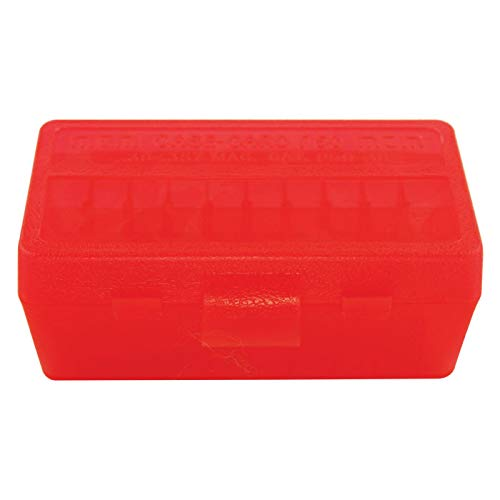 MTM Plastic Ammo Box, Clear RED 50 Round 38/357
