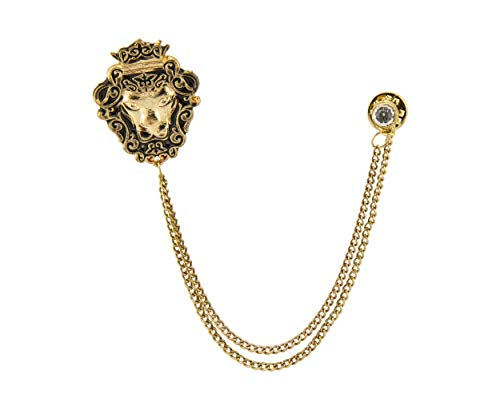 Knighthood Men's Golden Crowned Lion King with Swarovski/Lapel Pin/Brooch