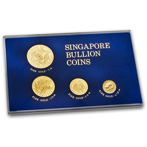 SG 1983 Singapore 4-Coin Dragon Gold Set BU Brilliant Uncirculated (Coin Dragon Gold Set)