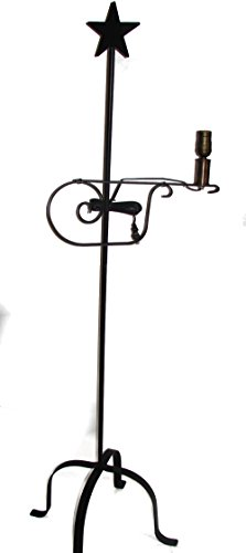 Wrought Iron Floor Lamp Star Top - Amish Made - Country Style Computer