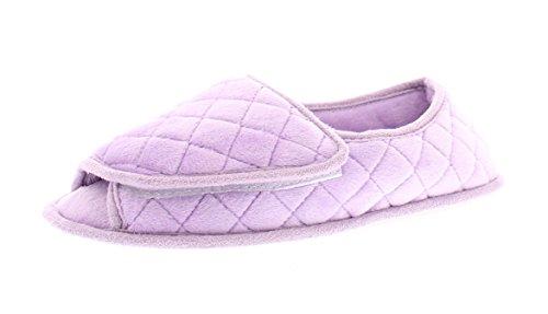 Coralee Memory Foam Orthopedic Slippers Women,Open Toe House Shoes,Womens Adjustable Slipper Edema Purple XL 10-11 US