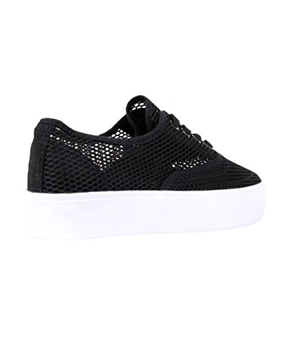 Womens Ladies Trainers 8 Shoes Mesh Platform Plimsolls KRISP Lace up 3 Creepers Black Sport Zq5dqBF