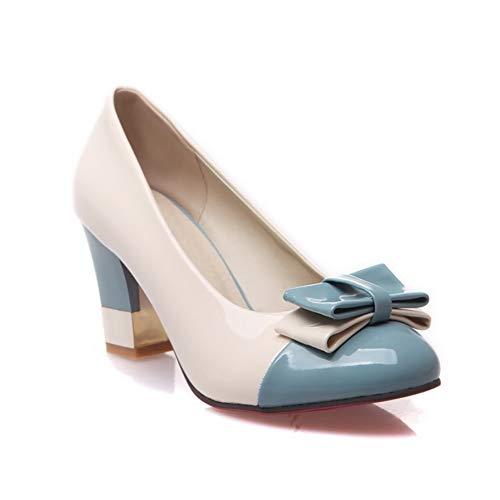 BalaMasa Womens Assorted Colors Bows Travel Urethane Pumps Shoes APL10423 Blue
