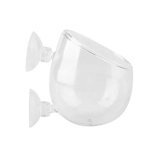 (FTVOGUE Plant Glass Cup Pot with 2 Suction Cups Aquarium Aquatic Holder Fish Tank)