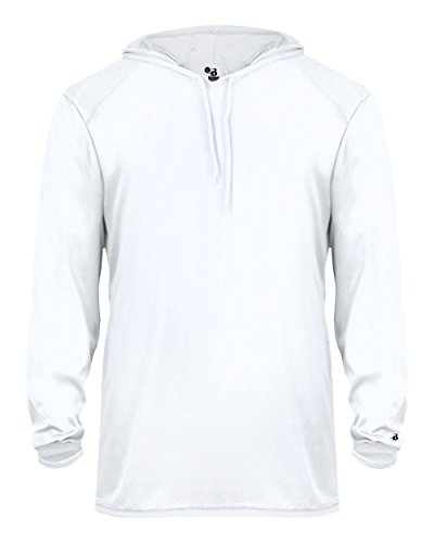 Adult White Long Sleeve B-Core XL Performance Sports Hoodie Wicking T-Shirt -