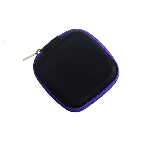 Da.Wa Square Hard Dish Storage Bags Carrying Cases for Earphone Headset Earbuds Pocket Collection (Purple)