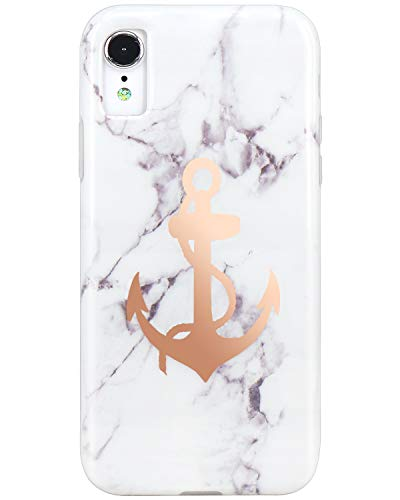 JIAXIUFEN Compatible iPhone XR Case Shiny Rose Gold Anchor White Marble Design Slim Shockproof Flexible Bumper TPU Soft Case Rubber Silicone Cover Phone Case for iPhone XR (Iphone Anchor Case)